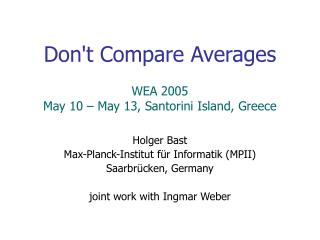Dont Compare Averages