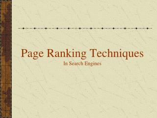 Page Ranking Techniques In Search Engines