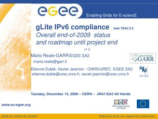 gLite IPv6 compliance   task TSA2.3.3 Overall end-of-2009  status and roadmap until project end