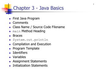 Chapter 3 - Java Basics