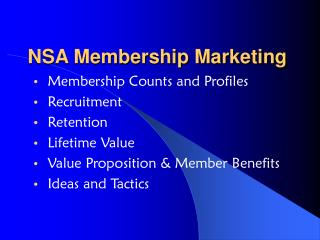NSA Membership Marketing
