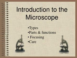 Introduction to the Microscope