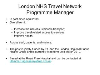 London NHS Travel Network Programme Manager