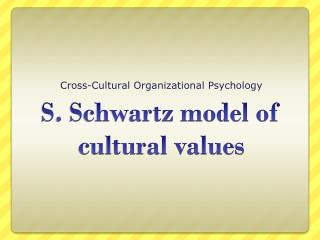 S. Schwartz model of cultural values