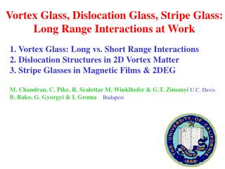 Vortex Glass, Dislocation Glass, Stripe Glass: Long Range Interactions at Work