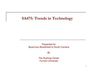 SA475: Trends in Technology