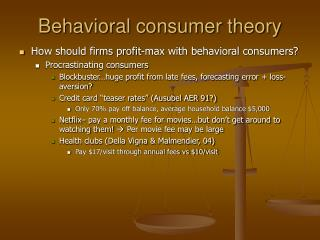 Behavioral consumer theory