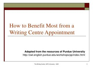 How to Benefit Most from a Writing Centre Appointment