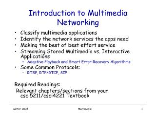 Introduction to Multimedia Networking
