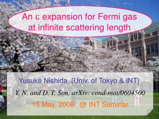 An  e  expansion for Fermi gas at infinite scattering length