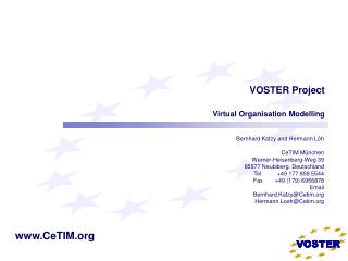 VOSTER Project  Virtual Organisation Modelling