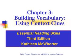 Chapter 3: Building Vocabulary:  Using Context Clues
