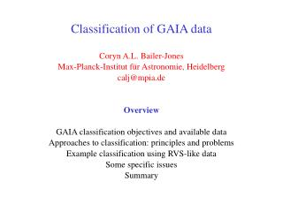 Classification of GAIA data