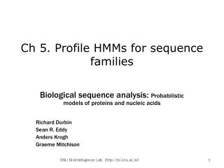 Ch 5. Profile HMMs for sequence families