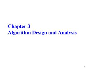 Chapter 3 Algorithm Design and Analysis