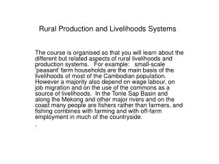 Rural Production and Livelihoods Systems