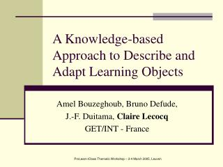 A Knowledge-based Approach to Describe and Adapt Learning Objects