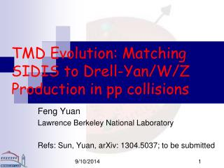 TMD Evolution: Matching SIDIS to Drell-Yan/W/Z Production in pp collisions