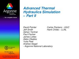 Advanced Thermal Hydraulics Simulation – Part II