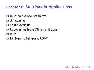 Chapter 6:  Multimedia Applications
