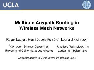 Multirate Anypath Routing in  Wireless Mesh Networks
