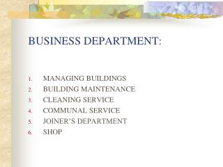 BUSINESS DEPARTMENT: