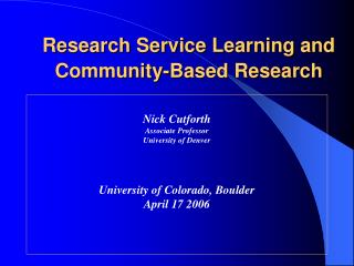 Research Service Learning and Community-Based Research