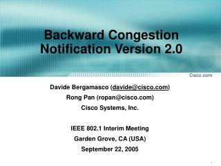 Backward Congestion Notification Version 2.0
