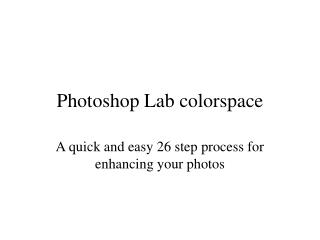 Photoshop Lab colorspace