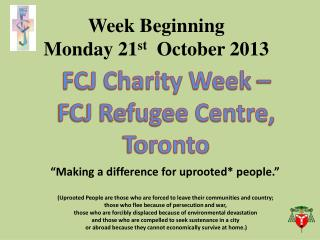 Week Beginning  Monday 21 st  October 2013