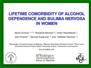 LIFETIME COMORBIDITY OF ALCOHOL DEPENDENCE AND BULIMIA NERVOSA IN WOMEN