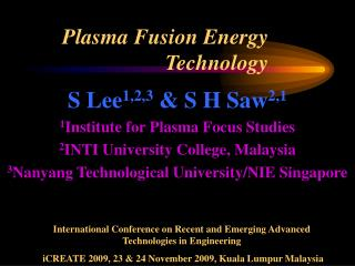 Plasma Fusion Energy Technology