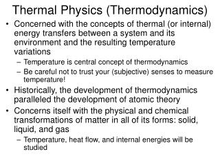 Thermal Physics (Thermodynamics)