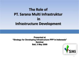 The Role of  PT. Sarana Multi Infrastruktur  in Infrastructure Development