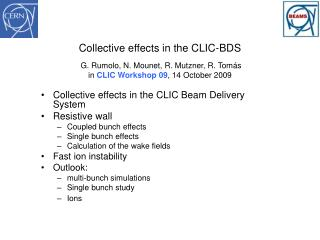 Collective effects  in  the  CLIC  Beam  Delivery System Resistive  wall Coupled bunch effects