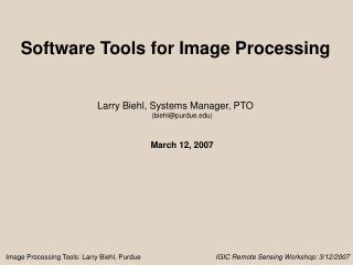 Software Tools for Image Processing
