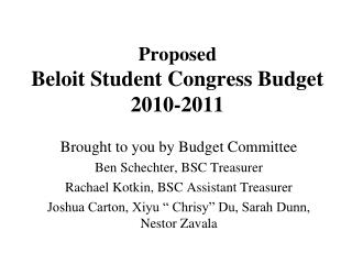 Proposed Beloit Student Congress Budget 2010-2011