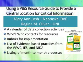 Using a  PBiS  Resource Guide to Provide a Central Location for Critical Information