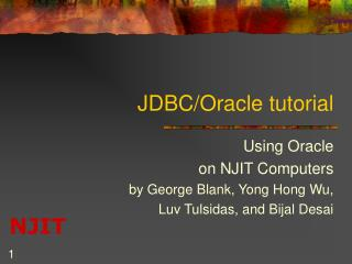 JDBC/Oracle tutorial