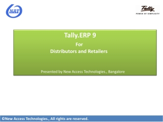 Tally.ERP 9 For  Distributors and Retailers