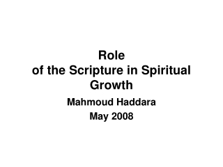 Role of the Scripture in Spiritual Growth