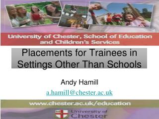 Placements for Trainees in Settings Other Than Schools