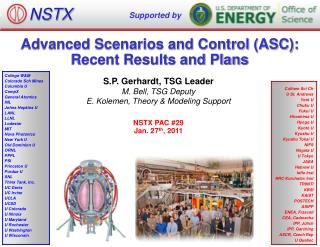 Advanced Scenarios and Control (ASC): Recent Results and Plans