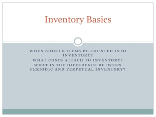 Inventory and Cost of Goods Sold