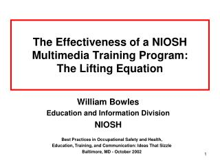 The Effectiveness of a NIOSH Multimedia Training Program: The Lifting Equation