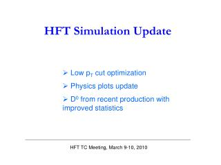 HFT Simulation Update