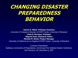CHANGING DISASTER PREPAREDNESS BEHAVIOR