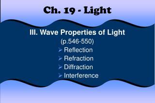 Ch. 19 - Light