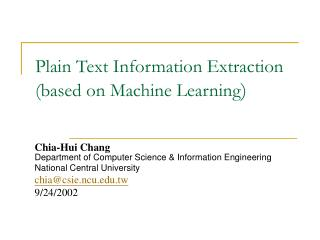 Plain Text Information Extraction  (based on Machine Learning )