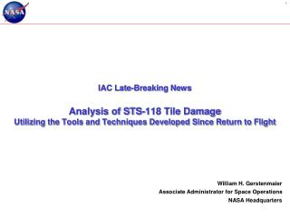 IAC Late-Breaking News Analysis of STS-118 Tile Damage
